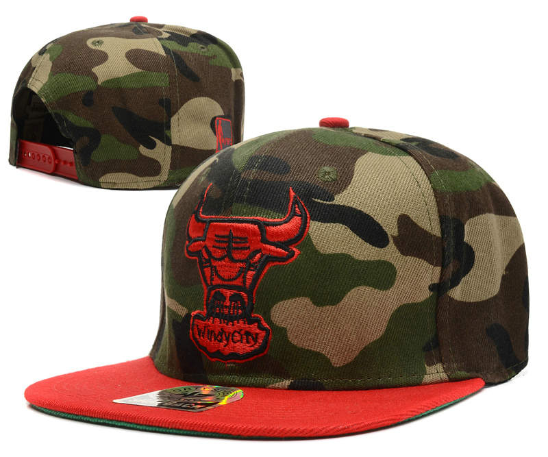 Chicago Bulls Camo Snapback Hat DF